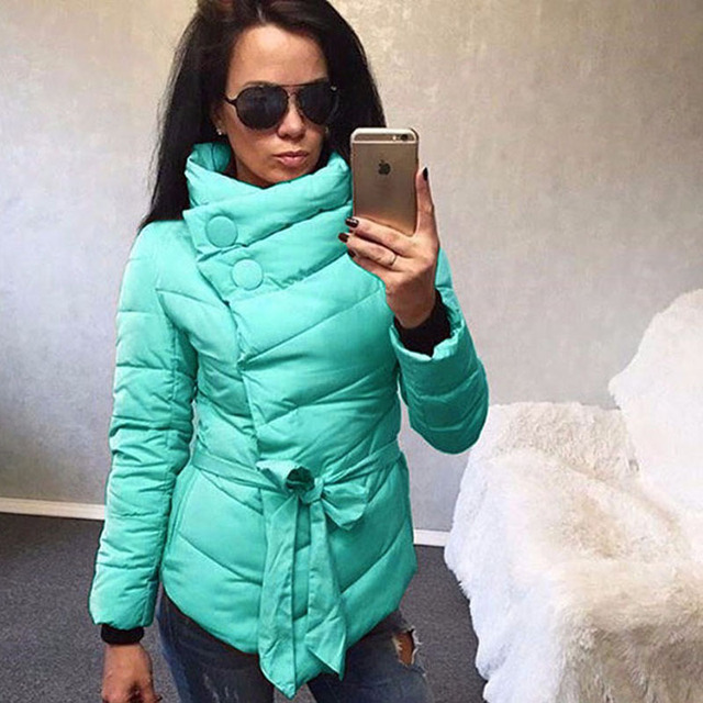 HQ 2017 Winter Winter New Parkas Down Thicken Stand Collar Solid Color Warm Coats with Belt Irregular Parkas Coats NXH2465
