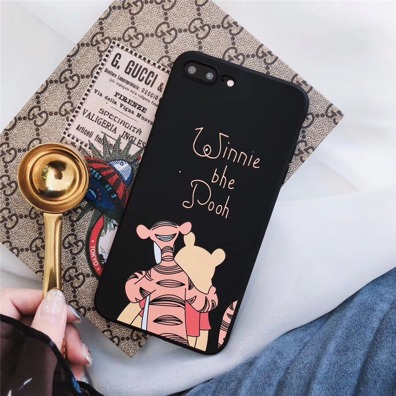 GYKZ Cartoon Bear Stitch Tiger Soft Case For iPhone XS MAX XR X 7 6 6s 8 Plus Soft Silicone Black Phone Cover For iPhone X Capa in Fitted Cases from Cellphones Telecommunications