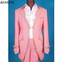 pink tuxedo slim fit custom made suits groom suit long tail for wedding suit high quality 2017 suit