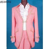 Pembe smokin slim fit ısmarlama takım elbise damat takım uzun kuyruk düğün suit yüksek kalite için 2017 takım