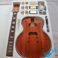 LP Style Electric Guitar DIY Kit Set High Quality African Mahogany Okoume Body Neck Rosewood Fingerboard