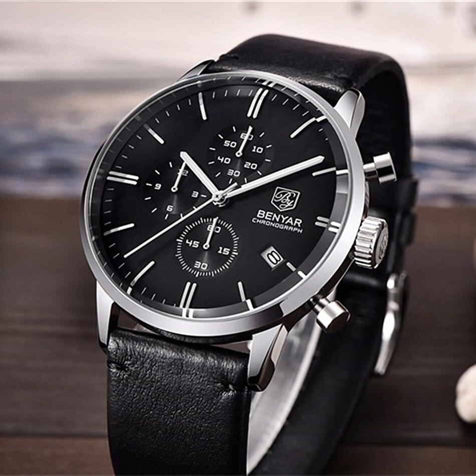 BENYAR Moda Chronograph Esporte Mens Relógios Top Marca de Luxo Relógio de Quartzo Impermeável Relógio Masculino horas relogio masculino - 5