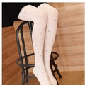 Sweet Cherry Printed Jacaurd Flower Velvet Women's Pantyhose White Tights for Girl