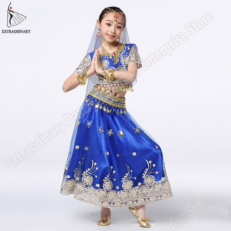 Image 3 - Girls Bollywood Dance Costume Set Kids Belly Dance Indian Sari Children Chiffon Outfit Halloween Top Belt Skirt Veil Headpiece-in Belly Dancing from Novelty & Special Use