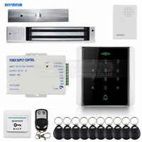 DIYSECUR 125KHz RFID Reader Password Keypad + 280kg Magnetic Lock + Doorbell + Remote Control Access Control System Security Kit