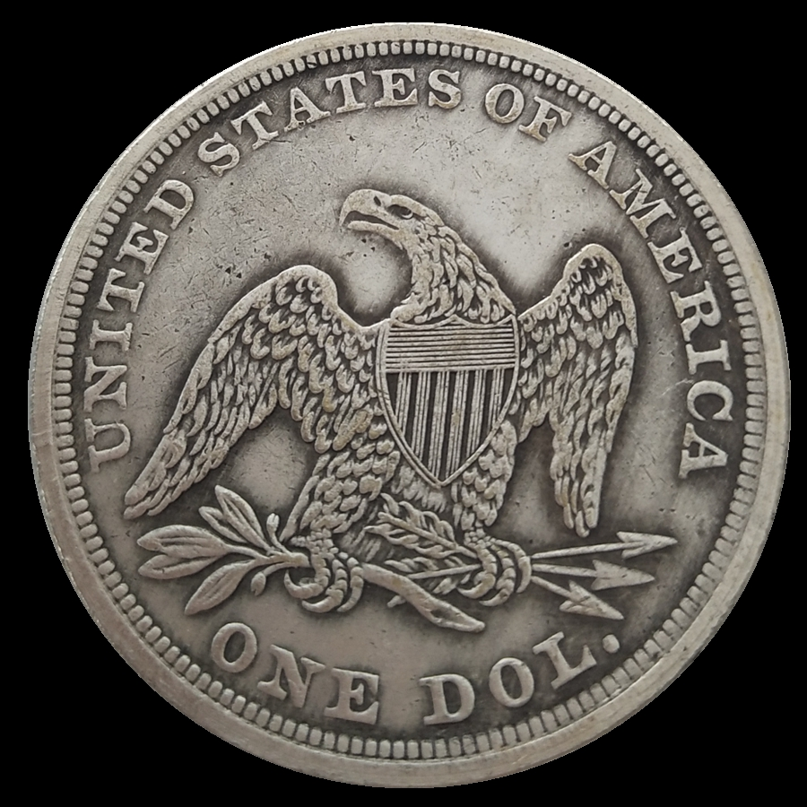 Seated Liberty Dollar 1854 Silver Plated Usa Coins Copy Used Shiny Condition