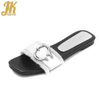 JK 2018 Summer Flat With Slippers Women Fashion Mules Open Toe Ladies Shoes Slides Female Metal Decoration Footwear Black White