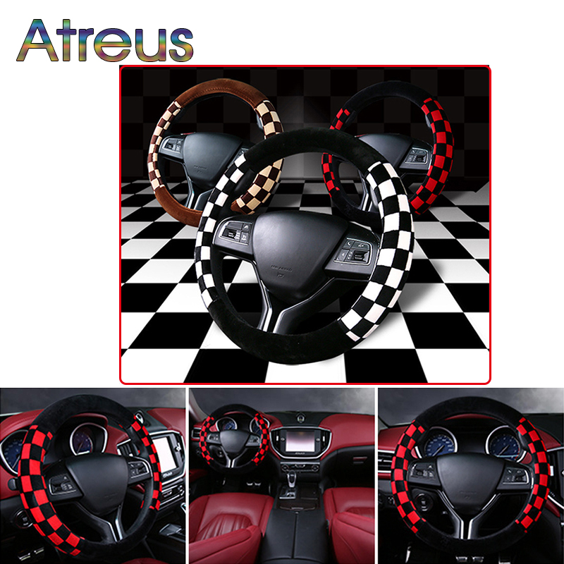 Atreus 38cm Car Winter Universal Plush Steering Wheel for Renault Chevrolet cruze Opel astra h Nissan Juke Peugeot 307 308 407
