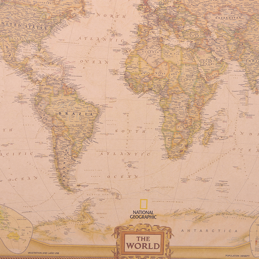geekoplanet.com - Vintage Matte Kraft Paper World Map