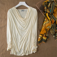100% natural silk Blouses OL Knitted Long Sleeve Real Silk White Blouse Tops for women Office Wear Shirts work Blouses