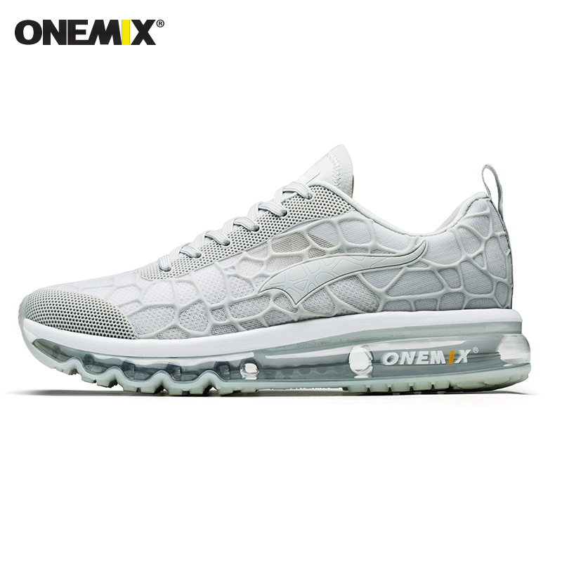 ONEMIX Running Shoes Men White Air Cushion Shock Absorption Breathable Outdoor Athletic Red Women Sport Shoes Walking Sneakers
