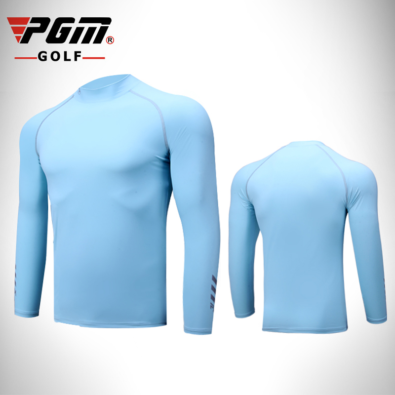 PGM golf Sports Shirts Summer mens long-sleeved sun protection clothing ice silk Lycra Breathable Quick Dry bottoming shirt