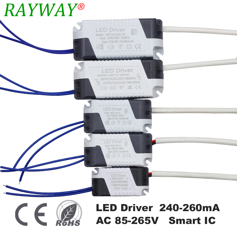 RAYWAY 1-3W,4-7W,8-12W,15-18W,18-24W LED driver power supply built-in constant current Lighting 110-265V Output 300mA Transforme