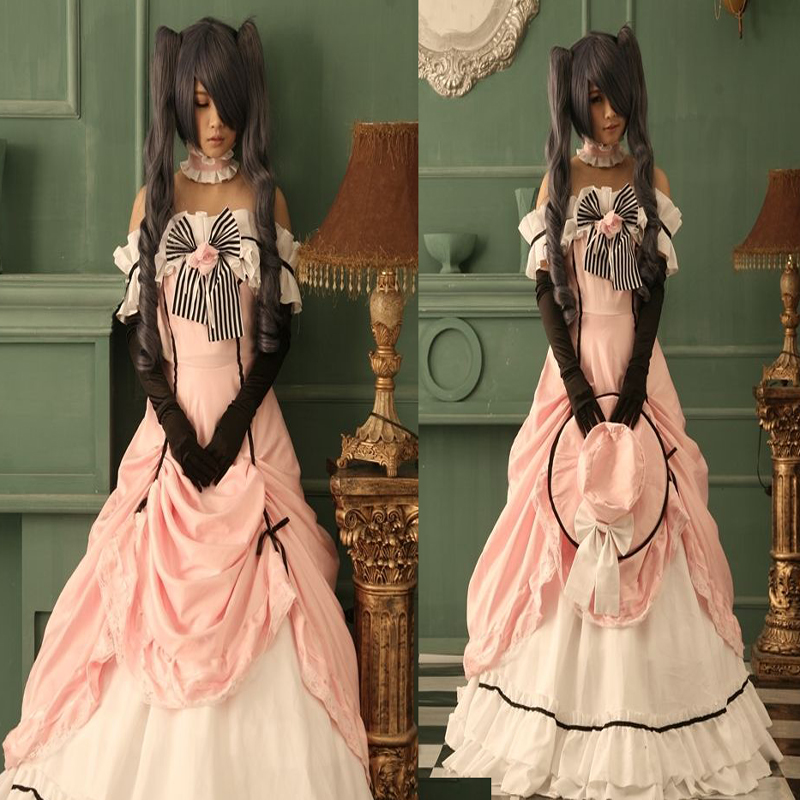 New Lady Girl Black Butler Ciel Phantomhive Kuroshitsuji Dress font b Women b font Lolita Pink