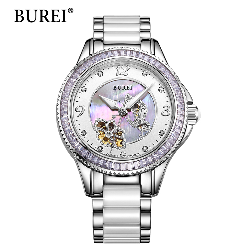 BUREI Mechanical Watch Women Day New Brand Female Clock Sapphire Fashion Ceramic Band Automatic Waterproof Wristwatches Hot Sale arteast am 152 фигурка кошельковая лягушка латунь