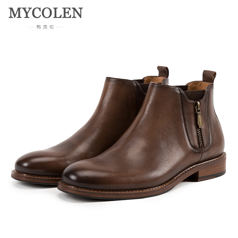 MYCOLEN 2018 New Men Cozy Chelsea Boots Ankle Boots Fashion Male Brand Leather High Quality Slip Ons Motorcycle Man Warm ZipMYCOLEN 2018 New Men Cozy Chelsea Boots Ankle Boots Fashion Male Brand Leather High Quality Slip Ons Motorcycle Man Warm Zip