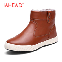IAHEAD Shoes Men Snow Boots Inside Fluff Warm Casual Ankle Boots Winter Waterproof Fishing Shoes Botas