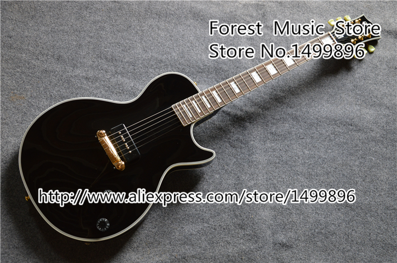 China LP Electric Guitarra With Single P-90 Style Pickup Black Electric Guitars Left Handed Available china oem left handed tony lommi sg electric guitars mahogany shiny black finish body for sale