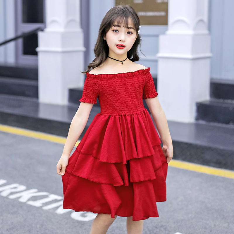 Image 4 - girls summer dress red cake tiered chiffon kids party dresses for girls birthday short sleeve 4 6 8 10 12 Y children clothesDresses   -