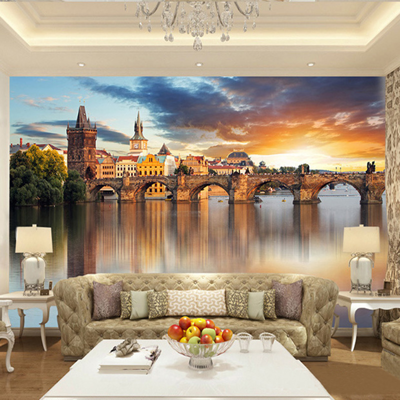 US $8.46 53% OFF|Foto Tapete Schöne Europäischen Architektur Sunset  Landschaft 3D Wandbild Wohnzimmer Hintergrund Wand Malerei Papel Wandbild  3D-in ...