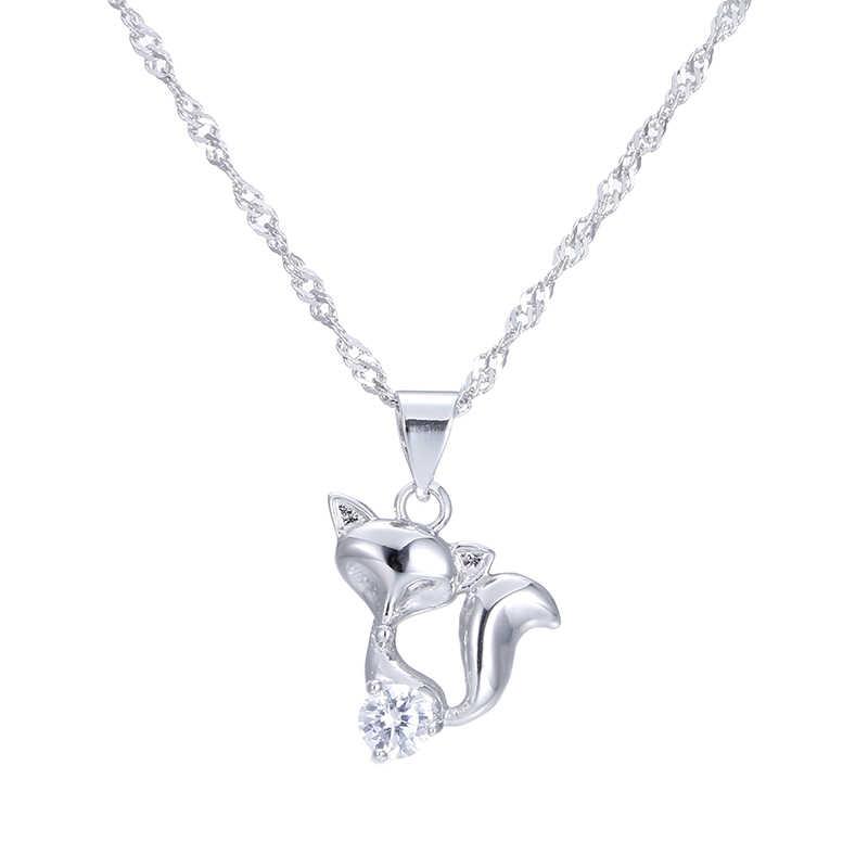 Hot bán thời trang nhỏ fox shiny pha lê nữ 925 sterling bạc ladies'pendant dây chuyền nữ trang sức quà tặng khuyến mãi
