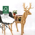 "J&E high-end series ""S""size Reindeer wood side table furniture self-build puzzle furniture"