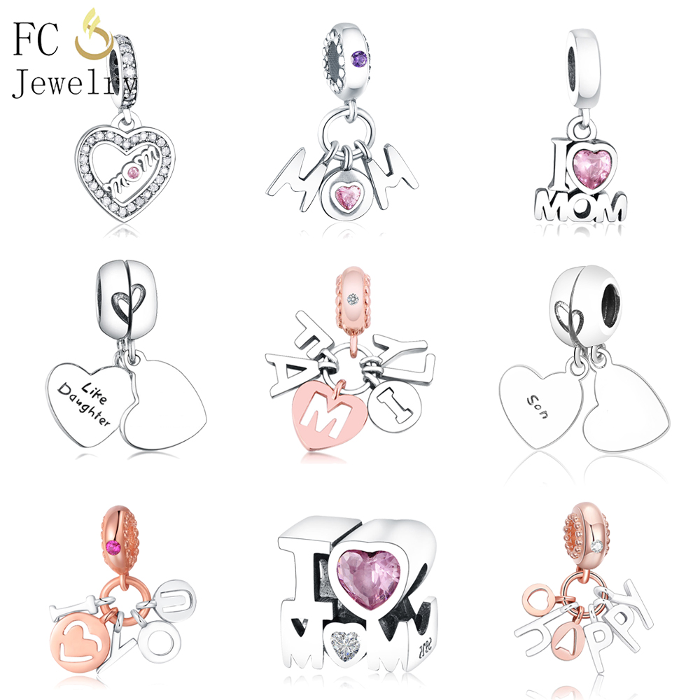 Fit Pandora Charms Bracelet Silver 925 Sterling Silver Like Mother Son Daughter Charms For DIY