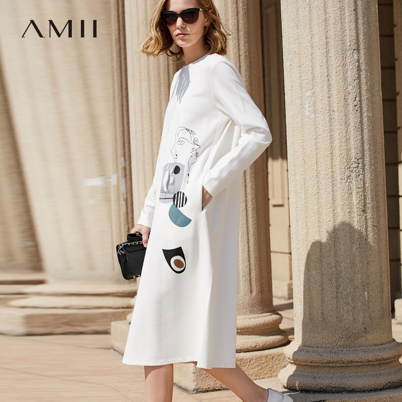 Amii Women Minimalist Dress 2018 Loose Print Geometric Mid Calf Female Dresses