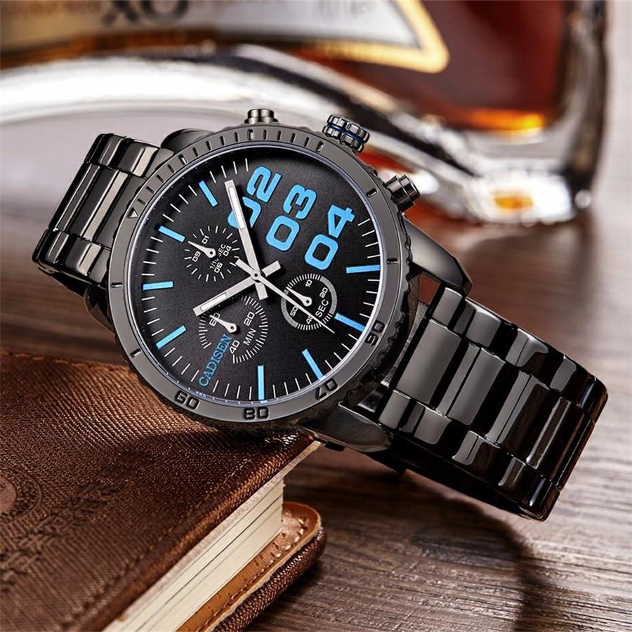 b41c5c33a8a Cadisen cadisen Negócios Relógios Homens Marca de luxo Militar dos homens  Relógios de Pulso de Aço Inoxidável Completa Quartz Watch Relogio Masculi  ...