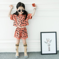 DFXD High Quality Toddler Girls Outfits New Cotton Short Sleeve O neck Leopard Print T shirt+Shorts Children Clothing Set 1 7Y