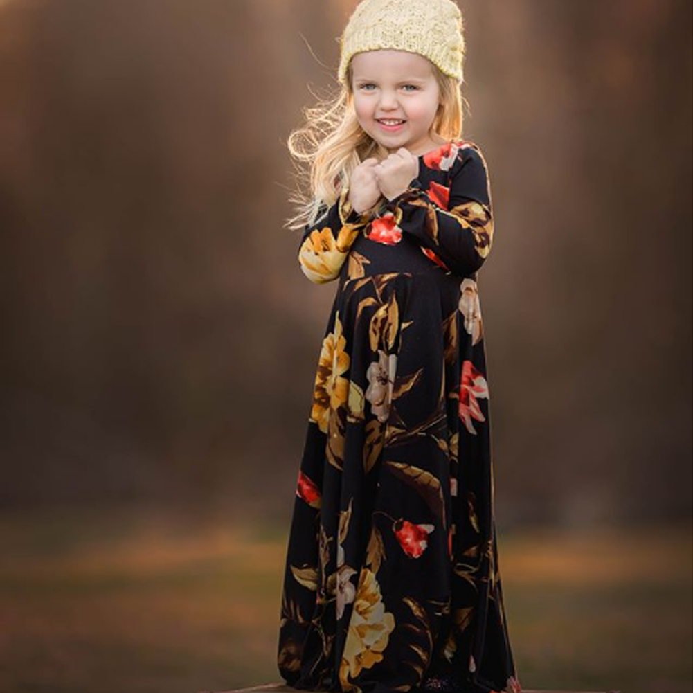 Cute Kids Girl Long Sleeve Floral Maxi Dress