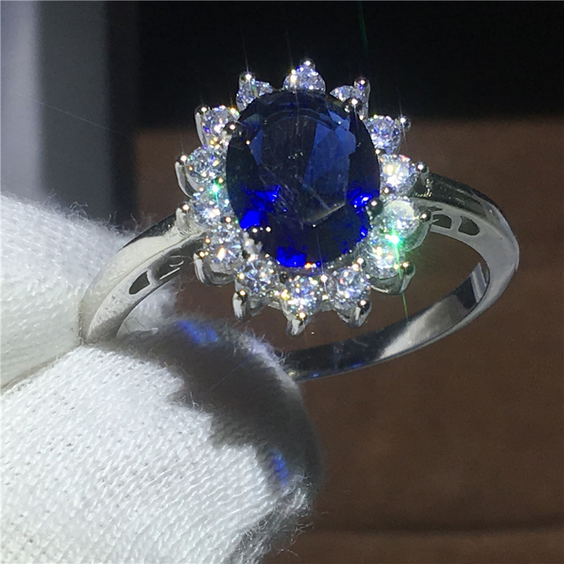 Royal Jewelry Princess Diana 100% Real 925 Sterling silver ring Blue 5A Zircon Cz Engagement wedding band rings for women Bridal цена