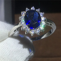 Royal Jewelry Princess Diana 100 Real 925 Sterling Silver Ring Blue 5A Zircon Cz Engagement Wedding