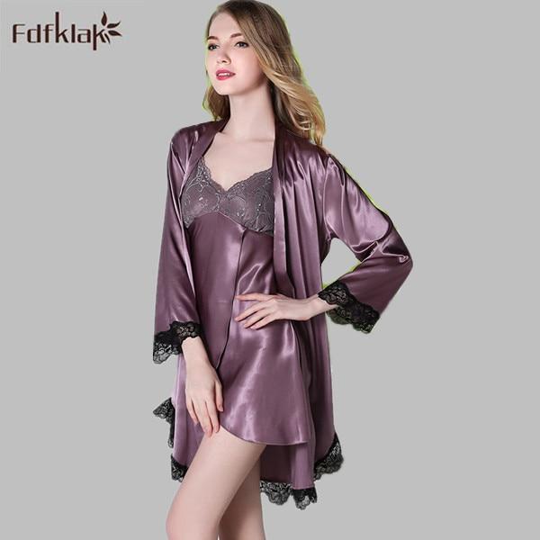 f4496e3b5c European Style Women Spring Summer Faux Silk Night Robe Long Sleeve Sexy  Gowns   Robes Set Women s Silk Robes 4 Styles E0781