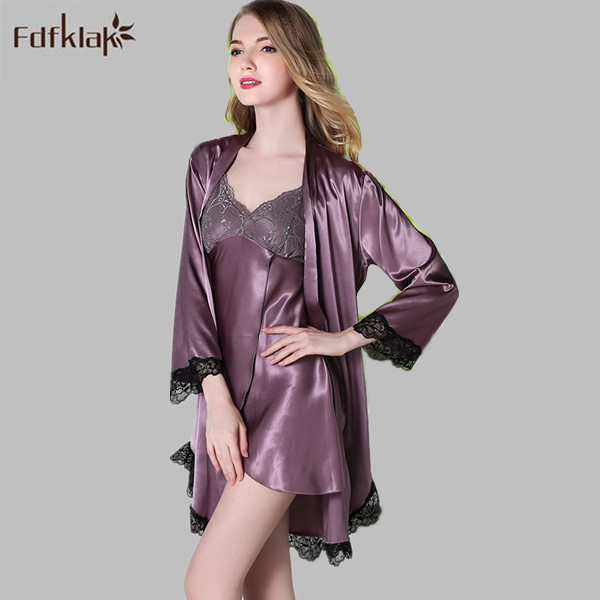 European Style Women Spring Summer Faux Silk Night Robe Long Sleeve Sexy Gowns & Robes Set Women's Silk Robes 4 Styles E0781