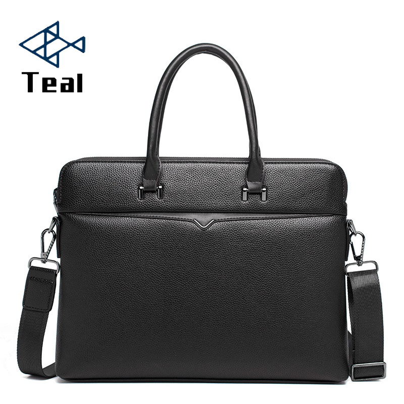 Men's Pu Leather Briefcase Bag For 14'' Laptop High Capacity Vintage Business Leather Mens Handbags