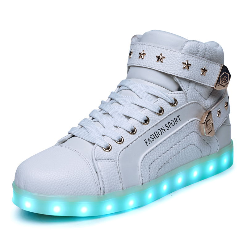 2017 Fashion Kids Sneakers Children's USB Charging Luminous Lighted Sneakers Big Boy/Girls LED lights Children Shoes size 35-45 new fashion children usb charging led light shoes kids sneakers fashion luminous lighted boy girl shoes chaussure led enfant