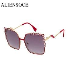 ALIENSOCE 2017 Grano de La Manera UV400 gafas de Sol de Las Mujeres Diseñador de la Marca de La Vendimia Roja Gafas de Sol Gafas De Sol Gafas Feminino Mujer