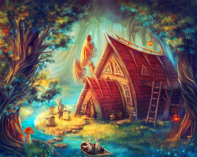 Beibehang Custom Large Modern Cartoon Wallpaper Childrens Room Fairy Tale World Dream Forest Home