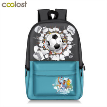 hot deal buy fashion footbally printing backpack teenager boys high school bags kids backpack students children school bags men soccerly bag