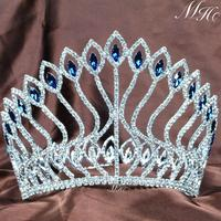 Fabulous Wedding Bridal Contoured Tiaras Blue Rhinestones Crowns Clear Crystal Diadem Pageant Party Prom Hair Accessories