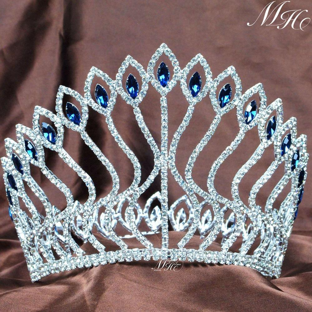 Fabulous Wedding Bridal Contoured Tiaras Blue Rhinestones Crowns Clear Crystal Diadem Pageant Party Prom Hair Accessories цена