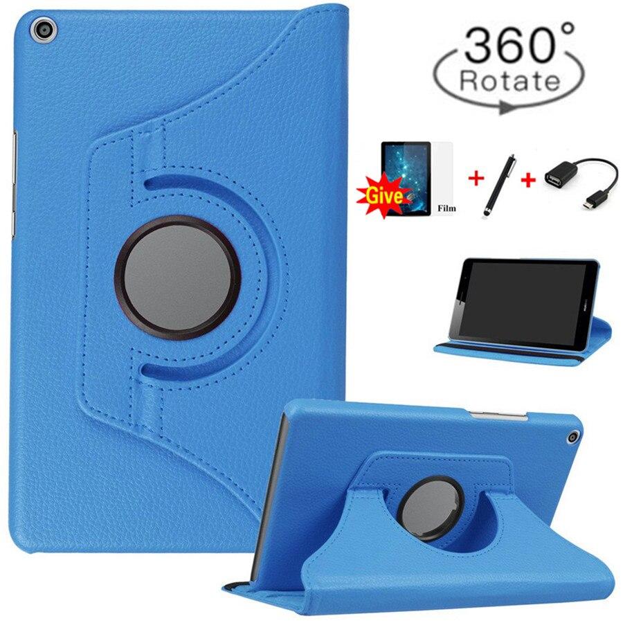 360 Rotativa Estojo De Couro PU para Huawei MediaPad T3 8.0 Honor Play Pad 2 KOB-L09 KOB-W09 Tablet Funda Capa + livre OTG + Filme + Caneta