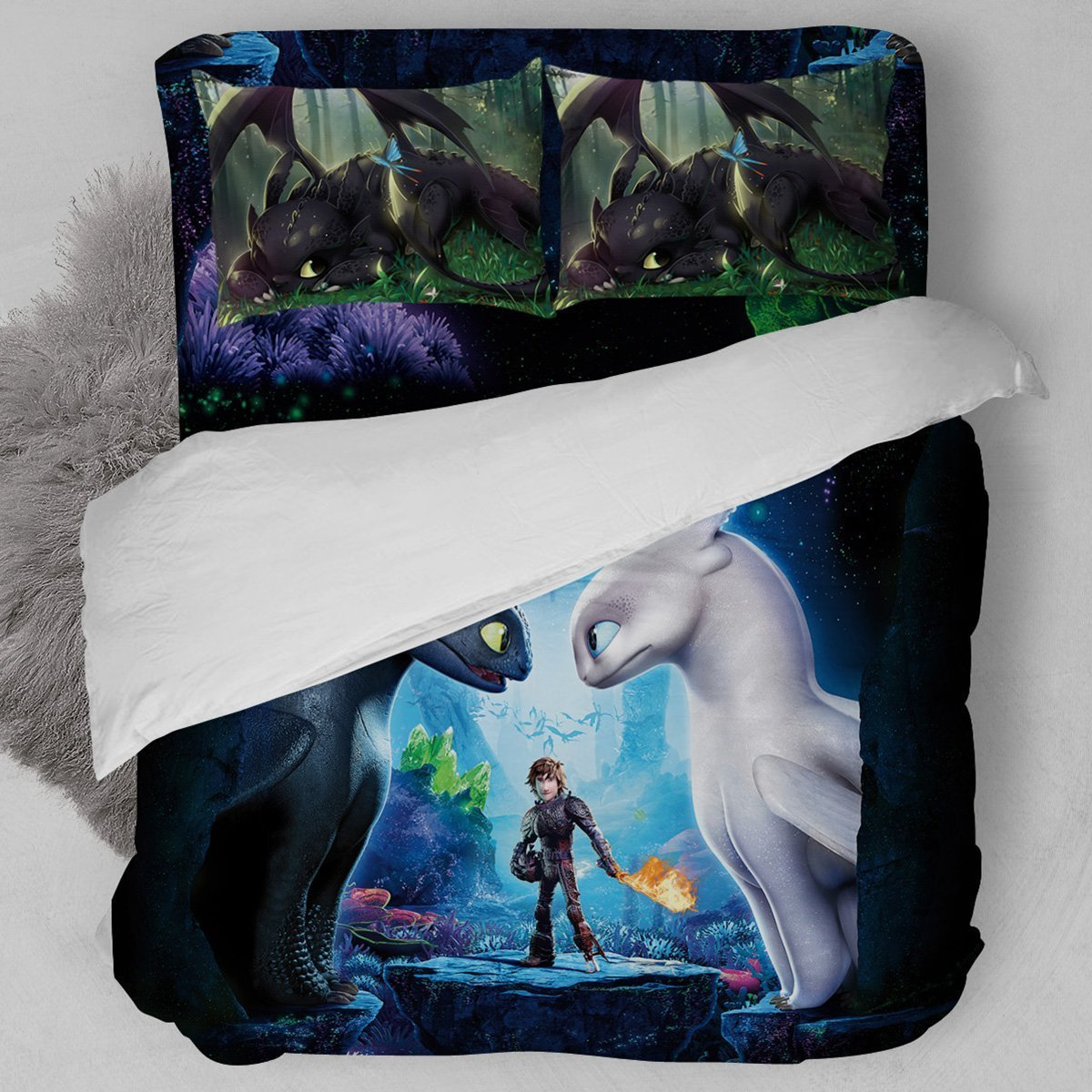 Dropshipping 3D Home Textile  2/3pcs Bedding Set Duvet Cover Beddingset Pillowcase  The Hidden World Bedding Set Dragon