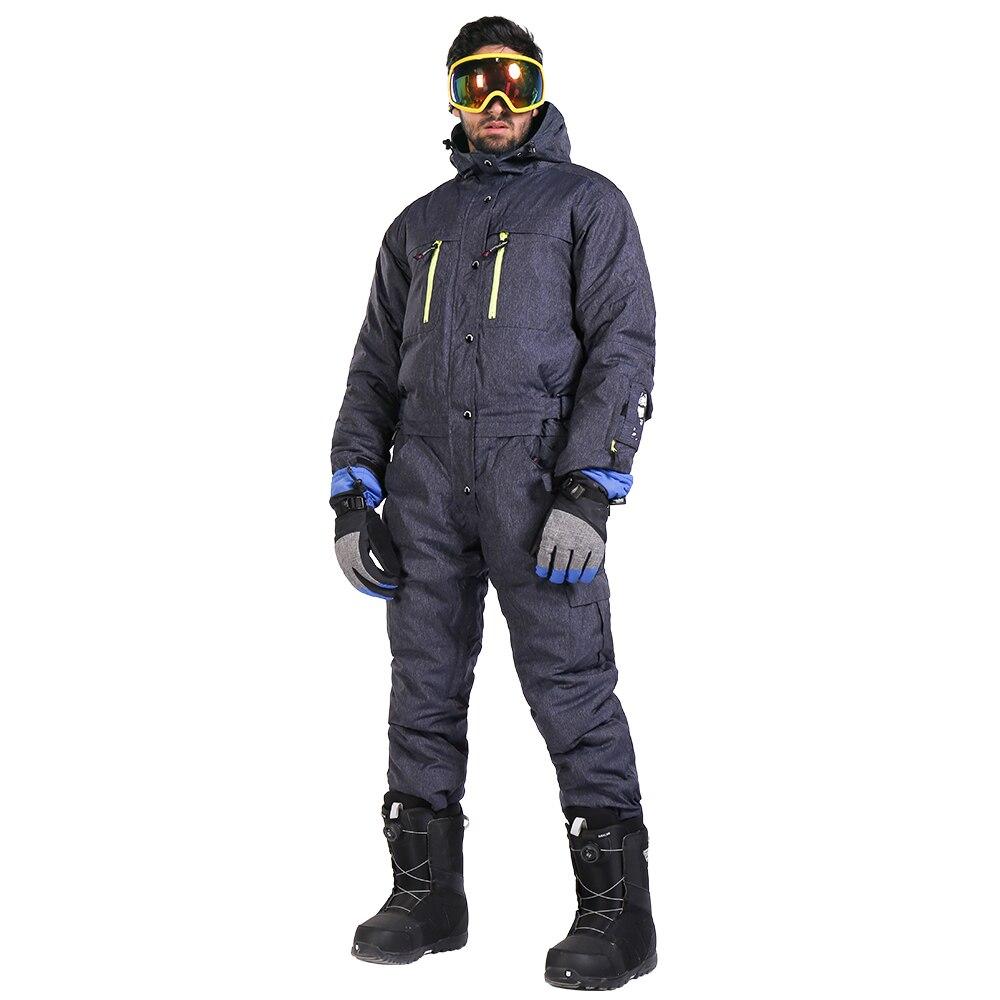 Saignement Une Pièce Combinaison de Ski Hommes Snowboard Salopette Hommes de Ski Mis Imperméable Coupe-Vent Épaissir Chaud Veste de Ski + Neige pantalon
