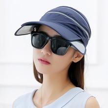 2017 Nueva Visera Visera Sombreros de Verano Sol Vacío Superior De Plástico  Retráctil Riding UV Sol Sombrero Mujeres Y Hombres C.. 05a5f762bd9
