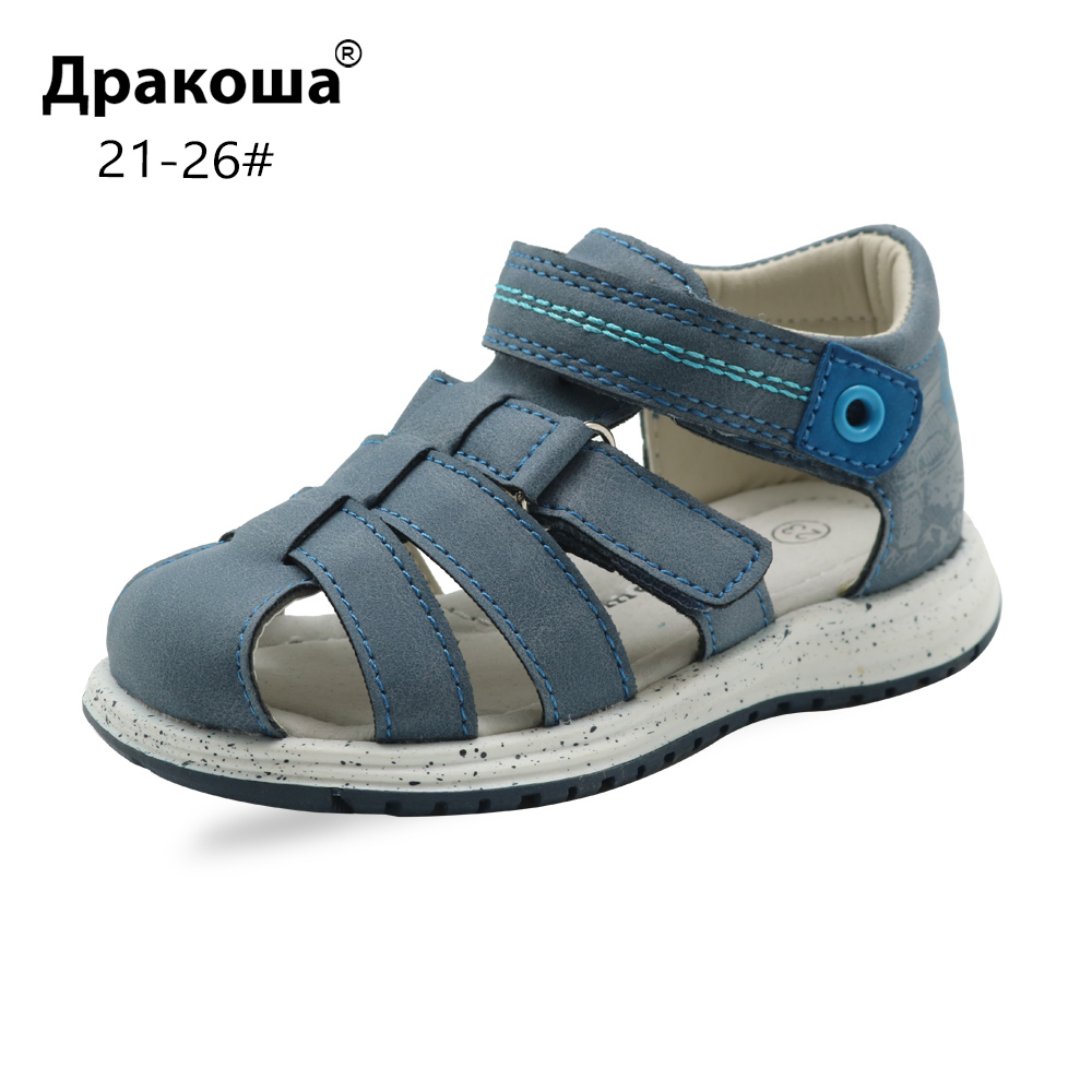 Apakowa Summer Flat Sandals For Toddler Boys Infant Boys' Fashion Gladiator Hook And Loop Sandals With Arch Support Kids Shoes
