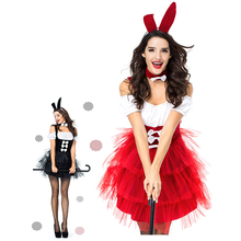 Sladuo Red Black Sexy Bunny Rabbit Girl Costume Womens Nightclub Outfit Off  Shoulder Tutu Skirt Set Fancy ad698abef28e