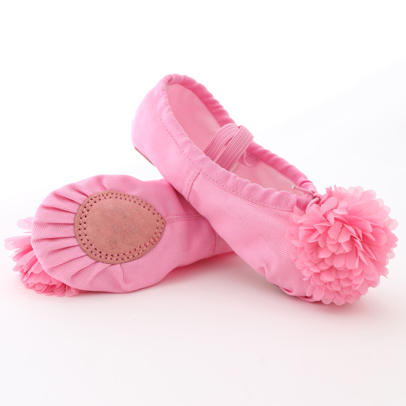 Soft Canvas Ballet Dance Shoes For Girls Kids Children High Quality Dance Slipper With Beautiful Flower