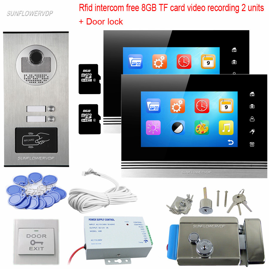 8GB TF Card Recording Intercom Video Door Phone Rfid Keyfob 2 Buttons 2 Color 7 Monitors Videophone Doorbell Camera With Lock
